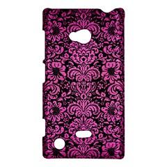 Damask2 Black Marble & Pink Brushed Metal (r) Nokia Lumia 720