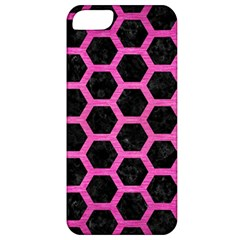 Hexagon2 Black Marble & Pink Brushed Metal (r) Apple Iphone 5 Classic Hardshell Case
