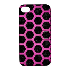 Hexagon2 Black Marble & Pink Brushed Metal (r) Apple Iphone 4/4s Hardshell Case With Stand
