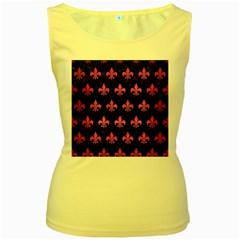 Royal1 Black Marble & Pink Brushed Metal Women s Yellow Tank Top