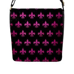 Royal1 Black Marble & Pink Brushed Metal Flap Messenger Bag (l)