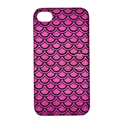 Scales2 Black Marble & Pink Brushed Metal Apple Iphone 4/4s Hardshell Case With Stand