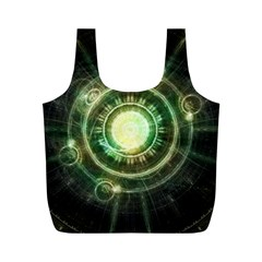Green Chaos Clock, Steampunk Alchemy Fractal Mandala Full Print Recycle Bags (m)