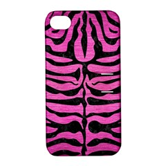 Skin2 Black Marble & Pink Brushed Metal Apple Iphone 4/4s Hardshell Case With Stand