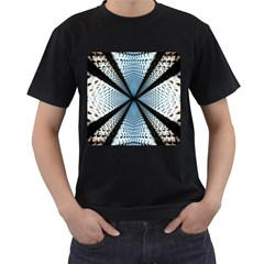 6th Dimension Metal Abstract Obtained Through Mirroring Men s T Shirt (black) (two Sided)