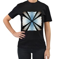 6th Dimension Metal Abstract Obtained Through Mirroring Women s T Shirt (black) (two Sided)