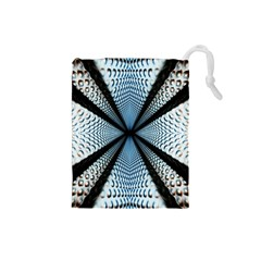 6th Dimension Metal Abstract Obtained Through Mirroring Drawstring Pouches (small)