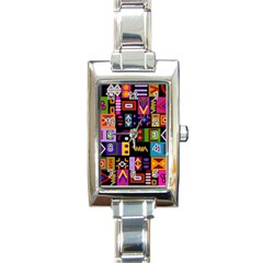 Abstract A Colorful Modern Illustration Rectangle Italian Charm Watch