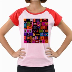 Abstract A Colorful Modern Illustration Women s Cap Sleeve T Shirt