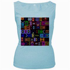 Abstract A Colorful Modern Illustration Women s Baby Blue Tank Top