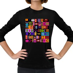Abstract A Colorful Modern Illustration Women s Long Sleeve Dark T Shirts