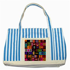 Abstract A Colorful Modern Illustration Striped Blue Tote Bag