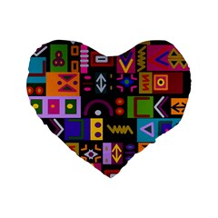 Abstract A Colorful Modern Illustration Standard 16  Premium Flano Heart Shape Cushions