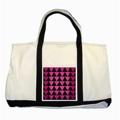 Triangle2 Black Marble & Pink Brushed Metal Two Tone Tote Bag