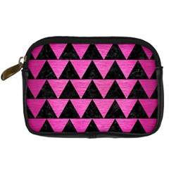 Triangle2 Black Marble & Pink Brushed Metal Digital Camera Cases