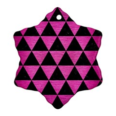 Triangle3 Black Marble & Pink Brushed Metal Ornament (snowflake)