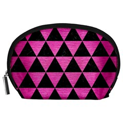 Triangle3 Black Marble & Pink Brushed Metal Accessory Pouches (large)