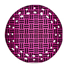 Woven1 Black Marble & Pink Brushed Metal Ornament (round Filigree)