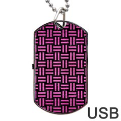 Woven1 Black Marble & Pink Brushed Metal (r) Dog Tag Usb Flash (two Sides)