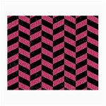 CHEVRON1 BLACK MARBLE & PINK DENIM Small Glasses Cloth (2-Side) Front
