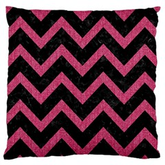 Chevron9 Black Marble & Pink Denim (r) Large Cushion Case (two Sides)