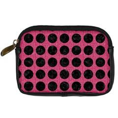 Circles1 Black Marble & Pink Denim Digital Camera Cases