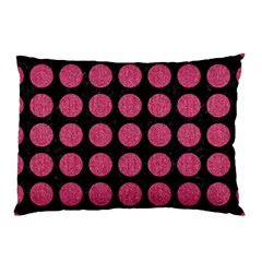 Circles1 Black Marble & Pink Denim (r) Pillow Case (two Sides)