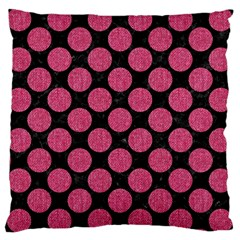 Circles2 Black Marble & Pink Denim (r) Large Cushion Case (two Sides)