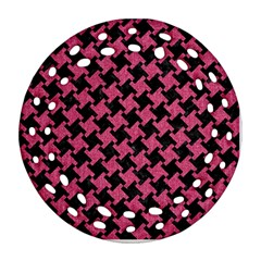 Houndstooth2 Black Marble & Pink Denim Ornament (round Filigree)