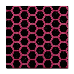 Hexagon2 Black Marble & Pink Denim (r) Face Towel