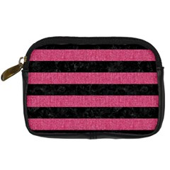Stripes2 Black Marble & Pink Denim Digital Camera Cases