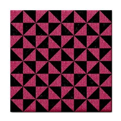 Triangle1 Black Marble & Pink Denim Face Towel