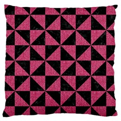 Triangle1 Black Marble & Pink Denim Large Cushion Case (two Sides)
