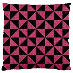 Triangle1 Black Marble & Pink Denim Large Flano Cushion Case (two Sides)