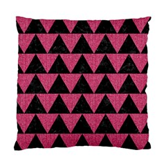Triangle2 Black Marble & Pink Denim Standard Cushion Case (two Sides)