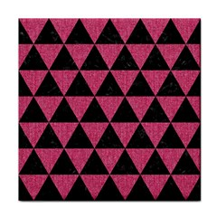 Triangle3 Black Marble & Pink Denim Face Towel