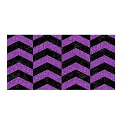 Chevron2 Black Marble & Purple Denim Satin Wrap