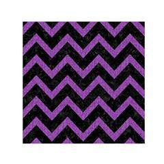 Chevron9 Black Marble & Purple Denim (r) Small Satin Scarf (square)