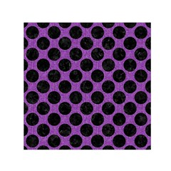 Circles2 Black Marble & Purple Denim Small Satin Scarf (square)