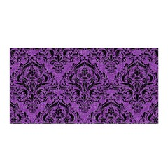 Damask1 Black Marble & Purple Denim Satin Wrap