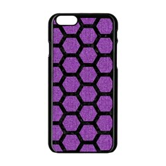 Hexagon2 Black Marble & Purple Denim Apple Iphone 6/6s Black Enamel Case