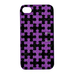 Puzzle1 Black Marble & Purple Denim Apple Iphone 4/4s Hardshell Case With Stand