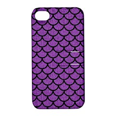 Scales1 Black Marble & Purple Denim Apple Iphone 4/4s Hardshell Case With Stand