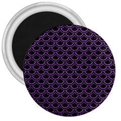 Scales2 Black Marble & Purple Denim (r) 3  Magnets