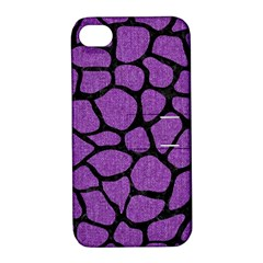 Skin1 Black Marble & Purple Denim (r) Apple Iphone 4/4s Hardshell Case With Stand