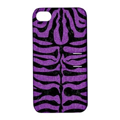 Skin2 Black Marble & Purple Denim Apple Iphone 4/4s Hardshell Case With Stand