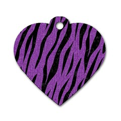 Skin3 Black Marble & Purple Denim Dog Tag Heart (one Side)