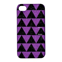 Triangle2 Black Marble & Purple Denim Apple Iphone 4/4s Hardshell Case With Stand