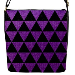 Triangle3 Black Marble & Purple Denim Flap Messenger Bag (s)