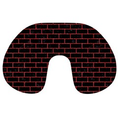 Brick1 Black Marble & Red Denim (r) Travel Neck Pillows